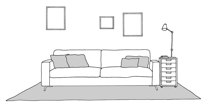 rug on sofa